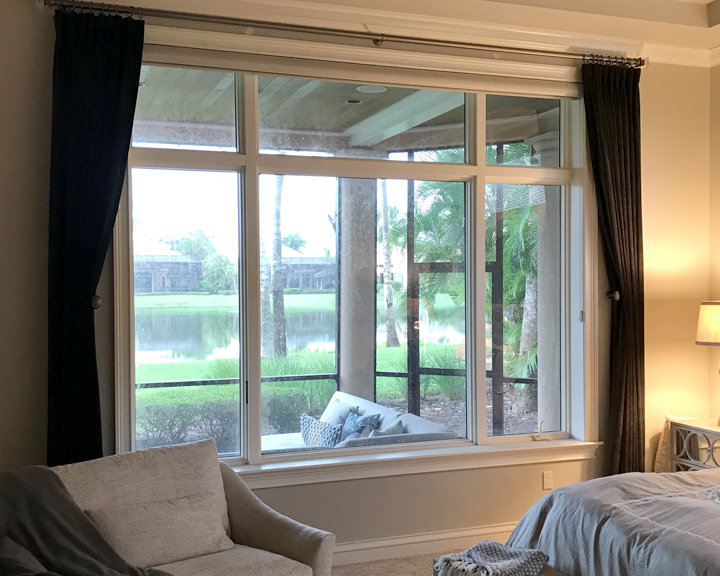 custom window treatment panels for room darkening in bedroom Fort Myers FL