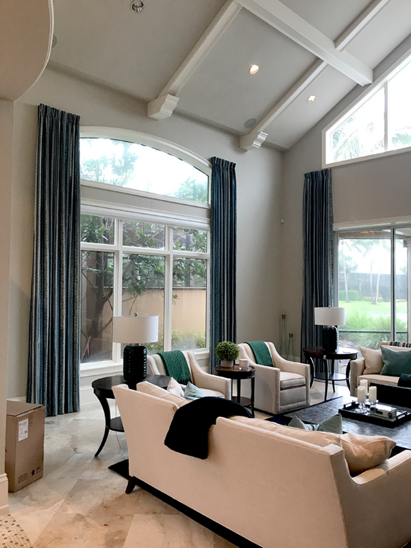 hard to reach windows with custom window treatments Fort Myers FL