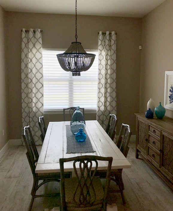 trellis patterned stationary draperies dining room Fort Myers FL