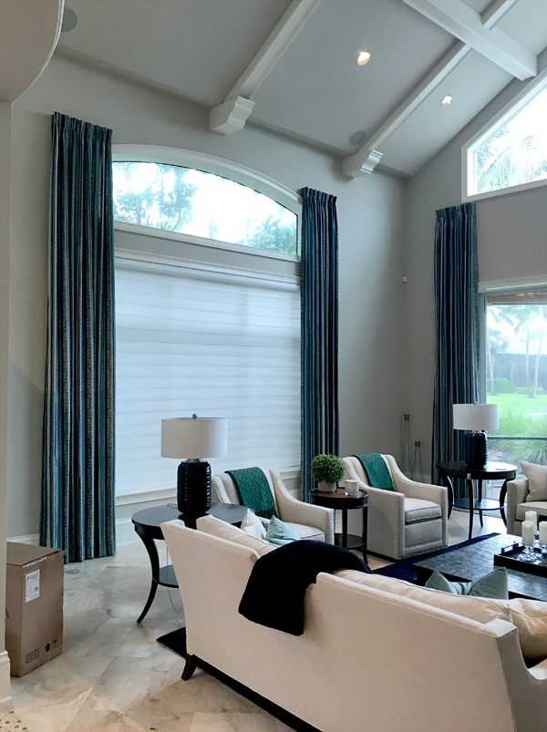 light filtering privacy shades with side draperies Fort Myers FL