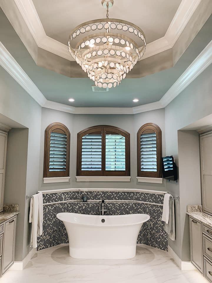 custom wood plantation shutters bathroom design Fort Myers FL