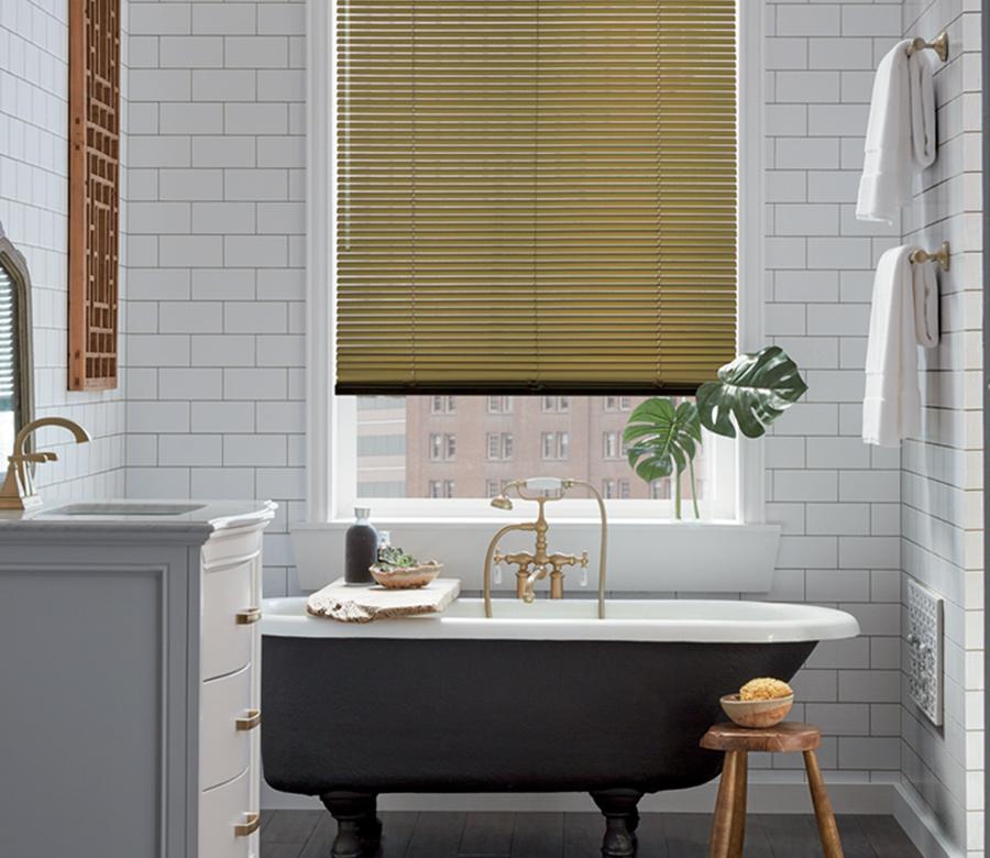 modern bathroom with hunter douglas gold modern precious metal blinds Fort Myers
