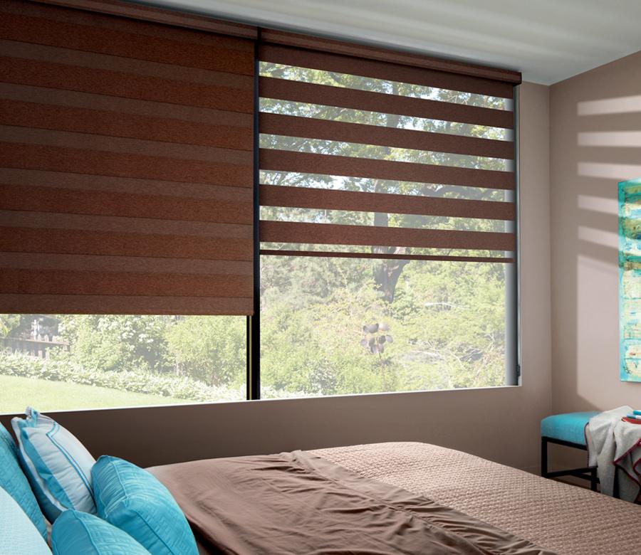 master bedroom with brown hunter douglas designer banded shades 34104