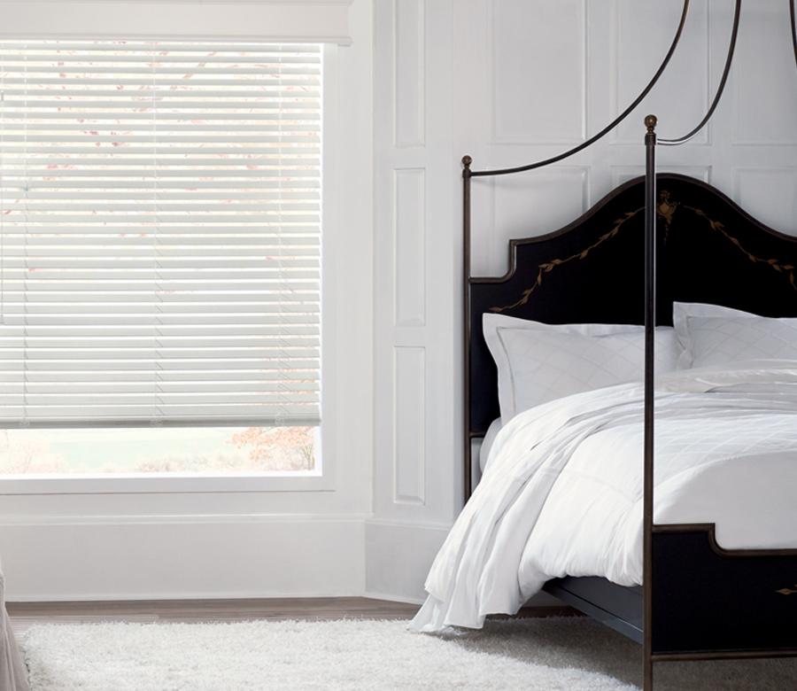 white master bedroom hunter douglas white wood blinds Fort Myers