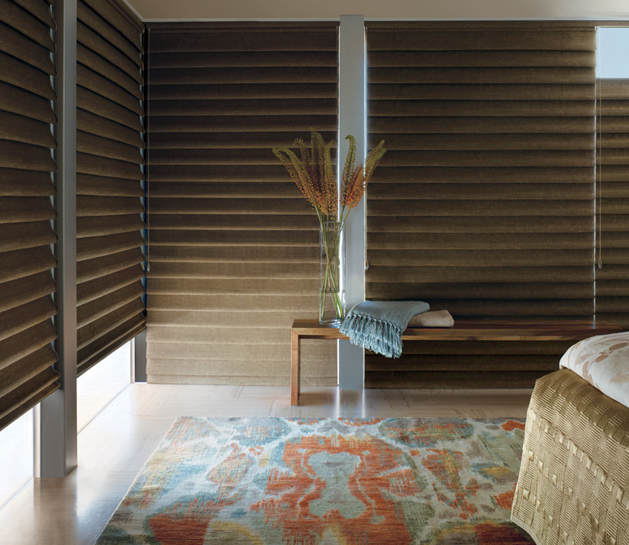 boho bedroom with hunter douglas vignette roman shades Naples
