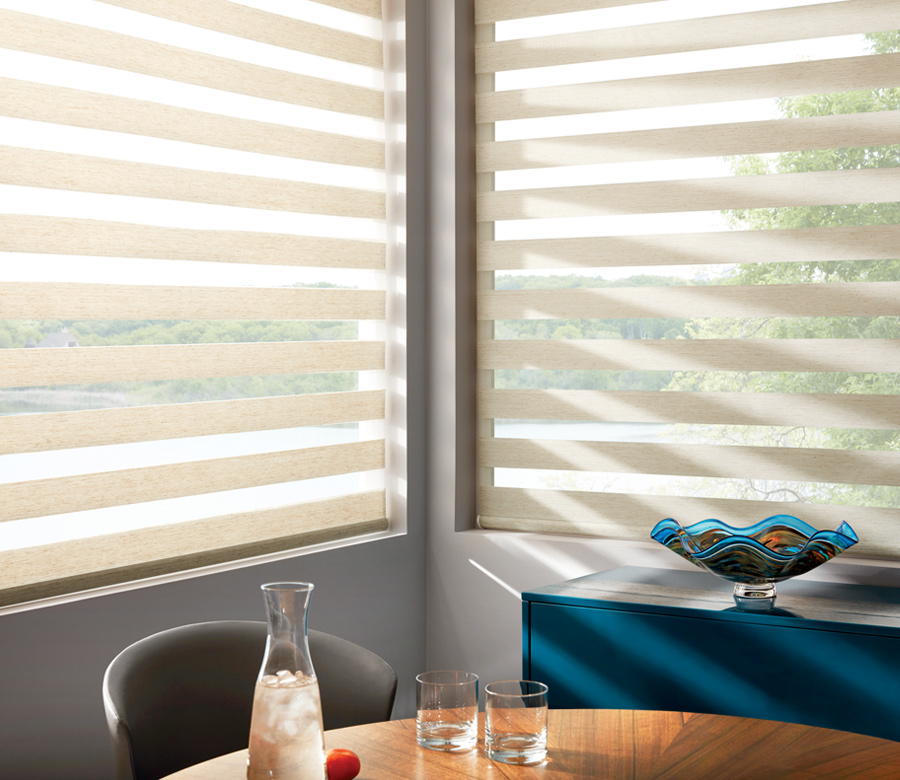 dining room with hunter douglas designer banded shades 34108