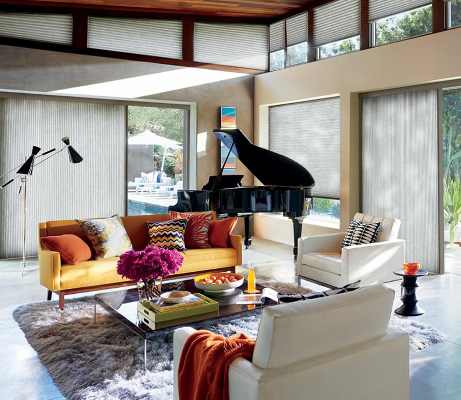 boho living room and hunter douglas duette vertical shades Fort Myers