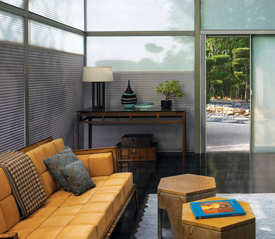 modern living with yellow couch and grey vertical duette honeycomb shades 34104