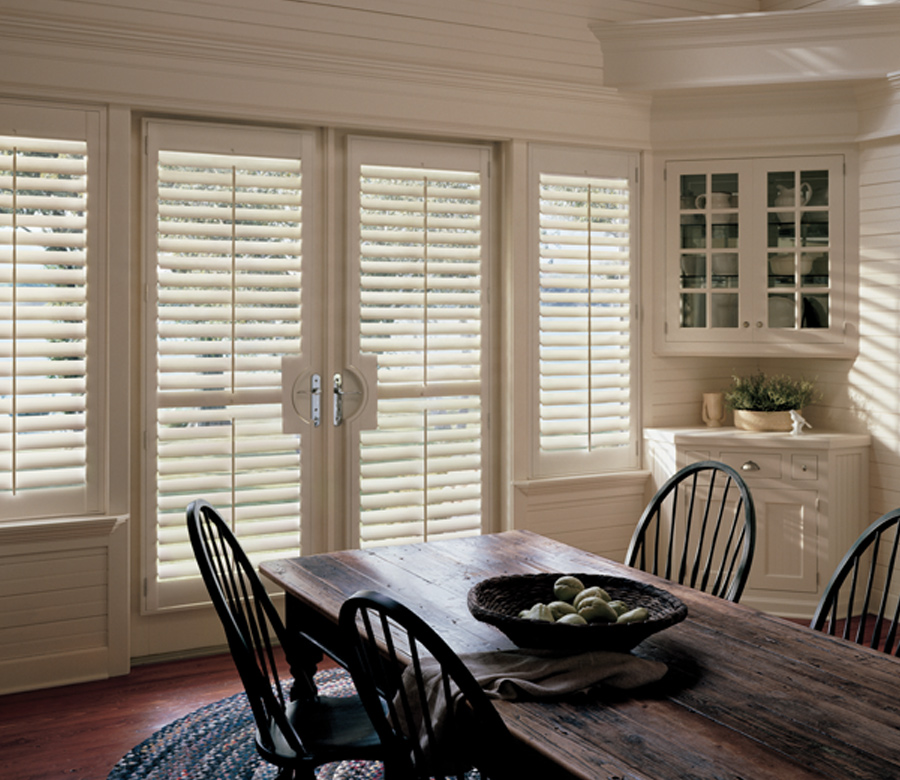 dining room with french door plantation shutters Hunter Douglas 34110