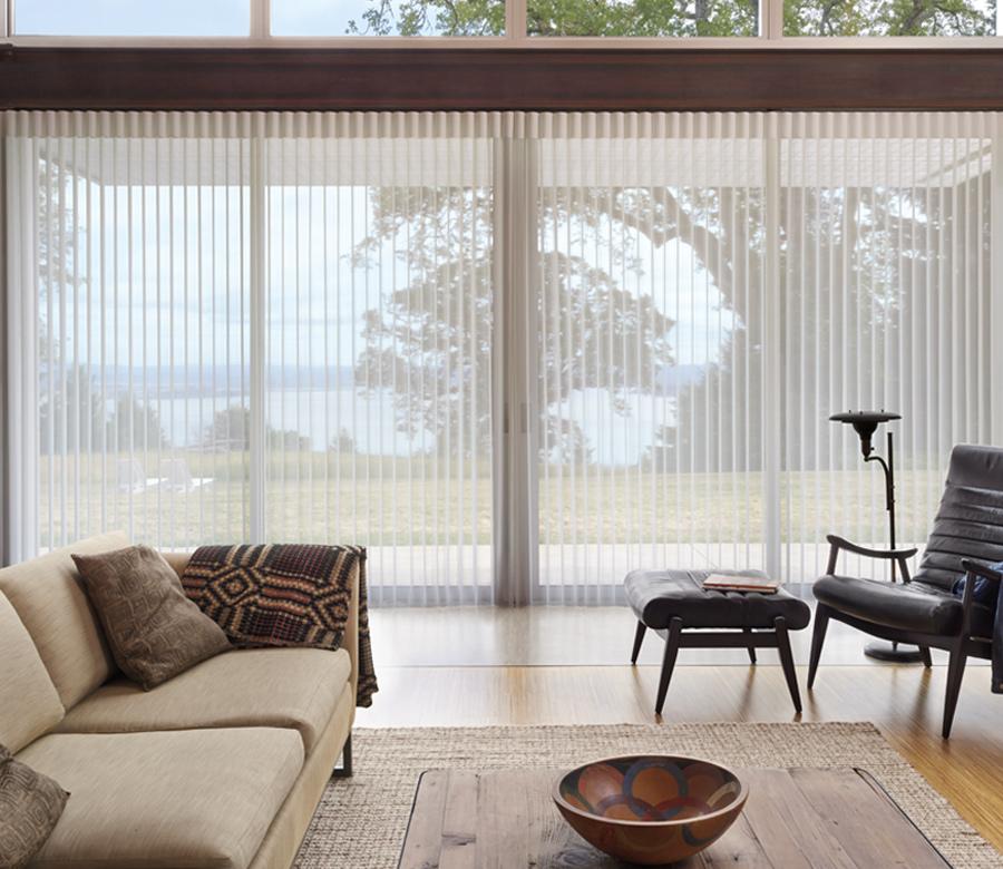 living room hunter douglas luminette vertical shades Fort Myers