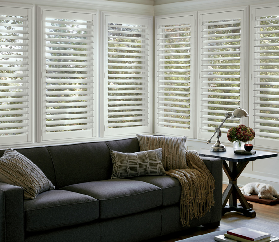 living room with newstyle hybrid shutters on large windows Hunter Douglas Fort Myers