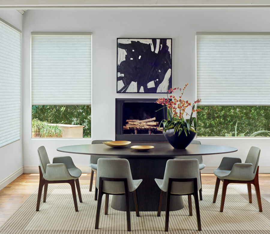 modern dining room with sonnette shades Hunter Douglas 34108
