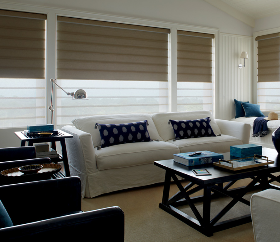 living room with white sofa and hunter douglas vignette roman shades Naples