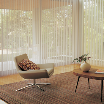 Hunter Douglas luminette vertical shades to cover floor to ceiling windows Fort Myers fl