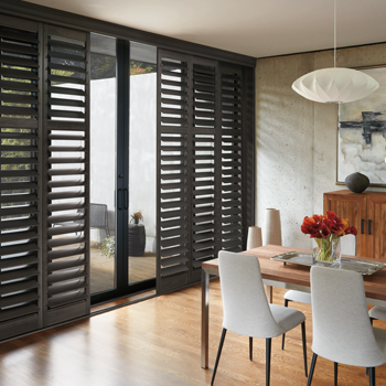 hunter douglas black plantation shutters to cover sliding glass doors Fort Myers 33908