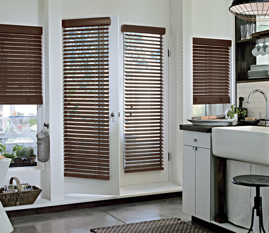 urban kitchen with brown parkland wood blinds on french doors Hunter Douglas Fort Myers 33908
