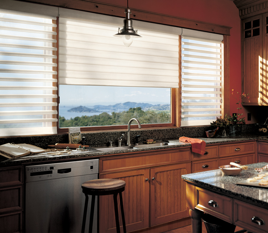 rustic kitchen pirouette window shades hunter douglas 34120