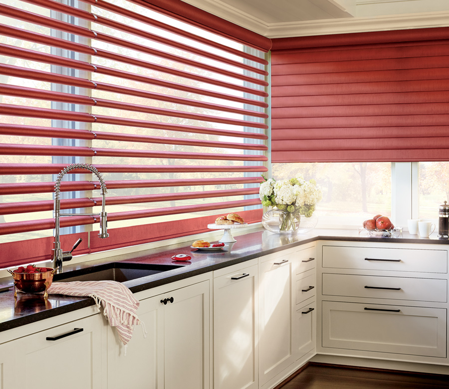 traditional kitchen hunter douglas red pirouette shades Naples 34119