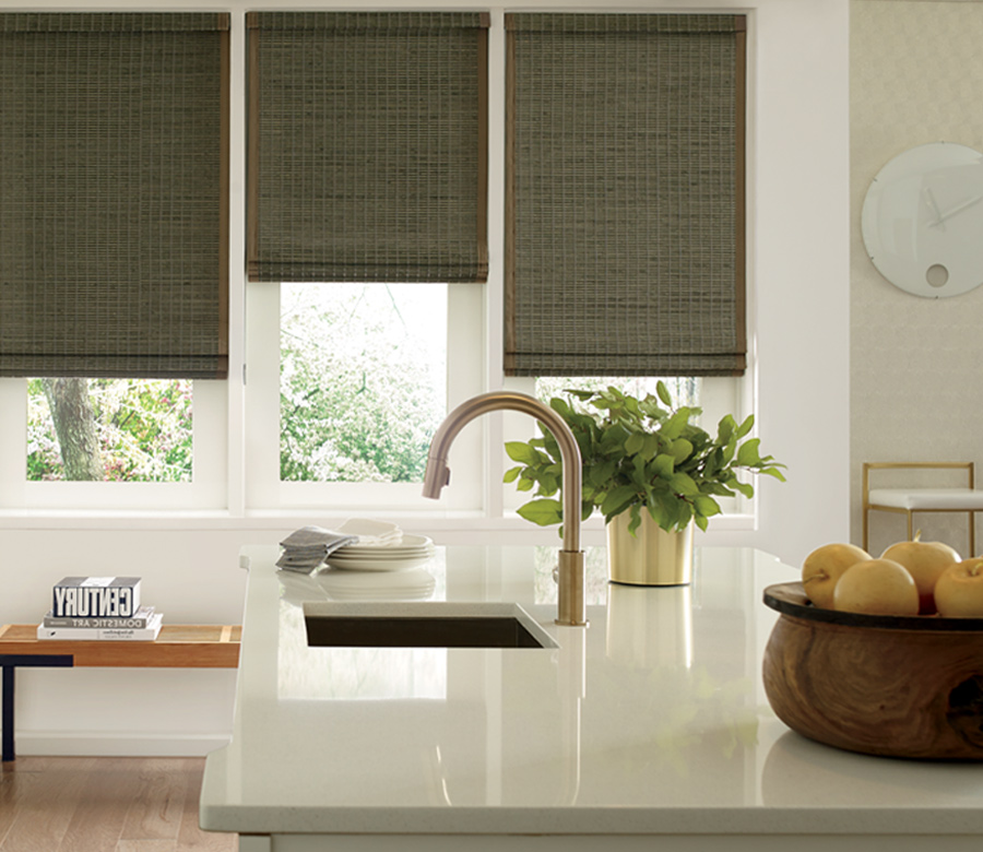 rustic kitchen green provenance woven wood shades hunter douglas Naples 34119