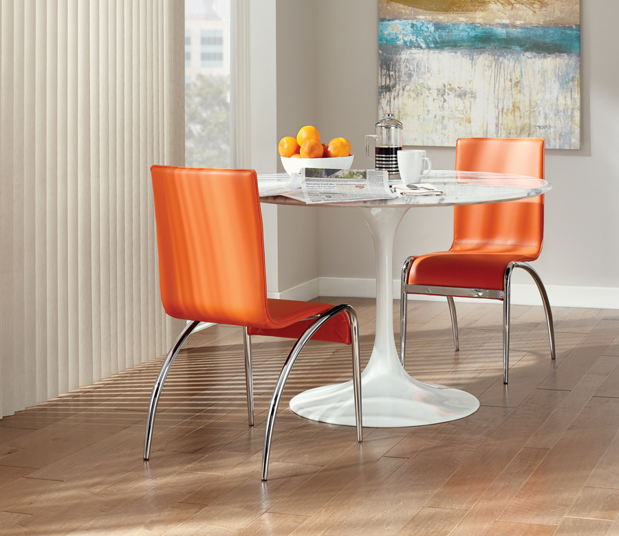 dining with orange chairs and hunter douglas vertical blinds Fort Myer fl