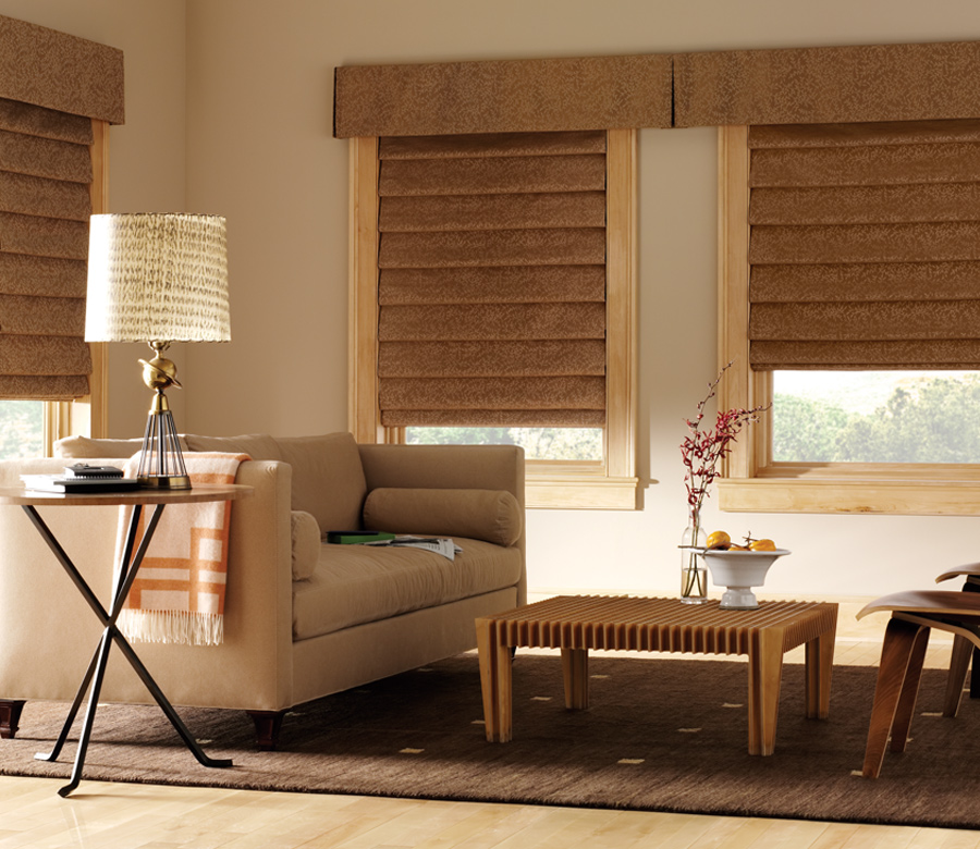 living room with hunter douglas studio custom roman shades Naples