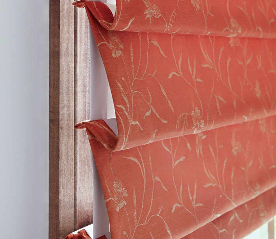 gold pattern details of hunter douglas red custom roman shades Fort Myers