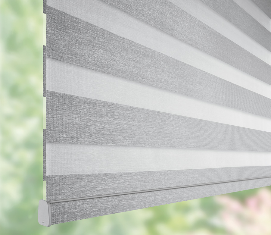 details of grey hunter douglas banded roller shades 34119