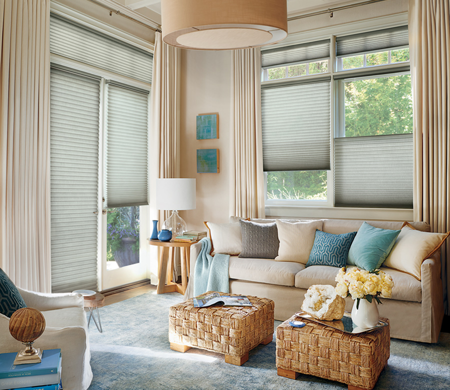 traditional living room with hunter douglas duette insulating shades 34145