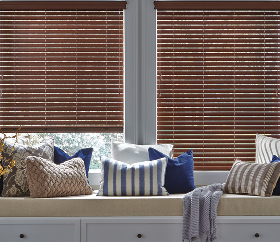 window seat with everwood faux wood blinds Hunter Douglas Fort Myers