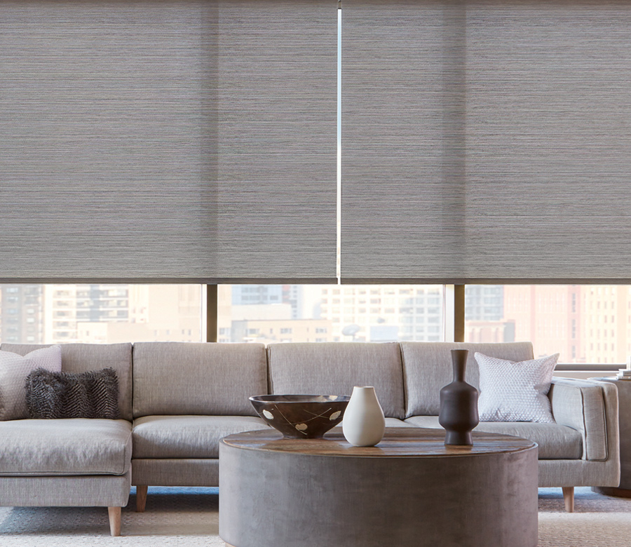 high rise living room with hunter douglas grey roller shades Naples