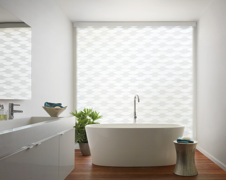bathroom hunter douglas motorized roller banded shades Naples 34119