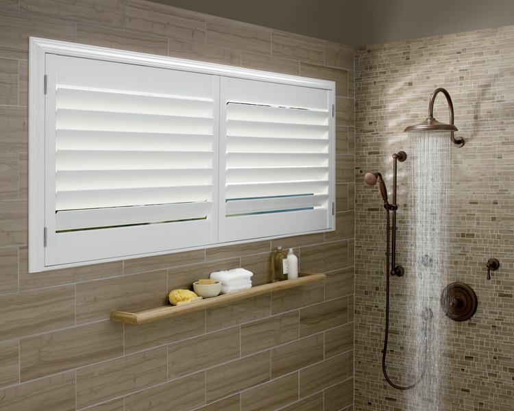 bathroom motorized shutters hunter douglas polysatin shutters Naples Fl,