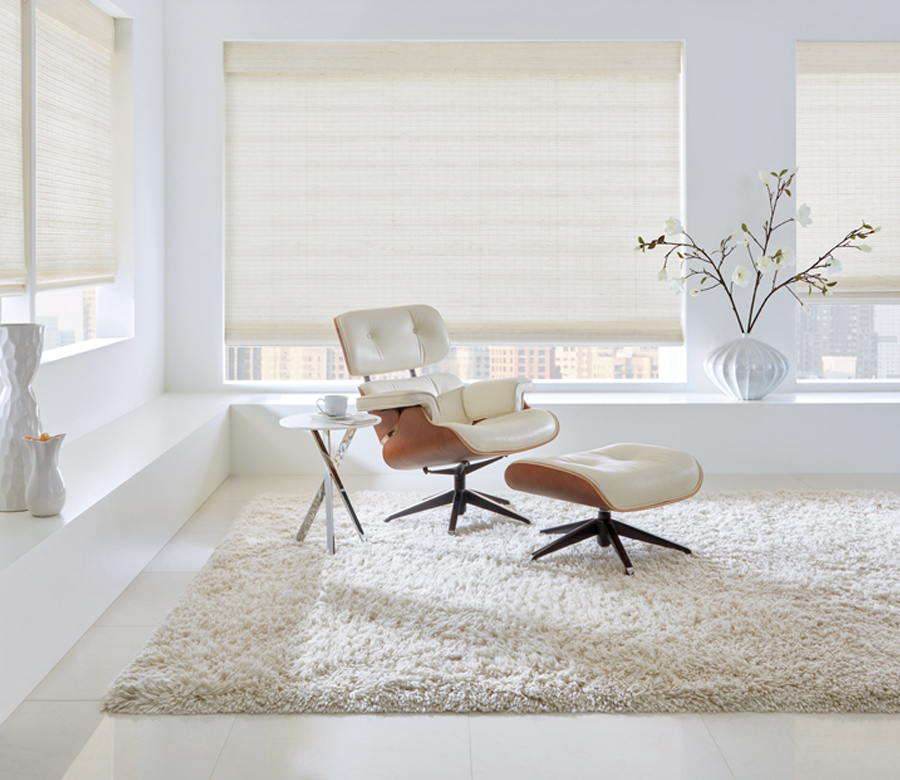white living room hunter douglas white woven shades Fort Myers