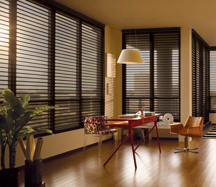 office with hunter douglas black silhouette window shades 34103