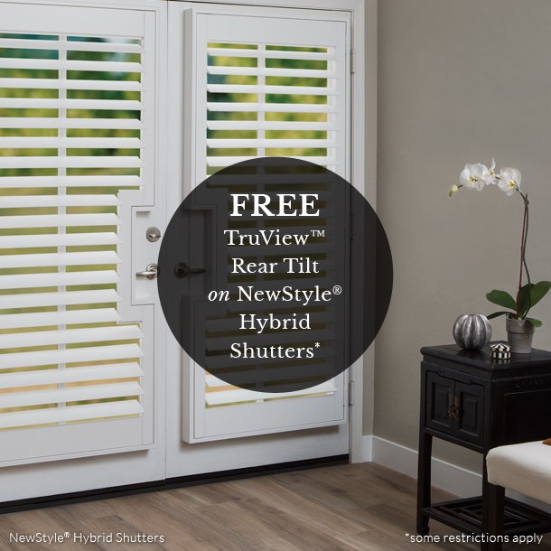 At home blinds free truview and rear tilt on shutters promo Fort Myers Fl