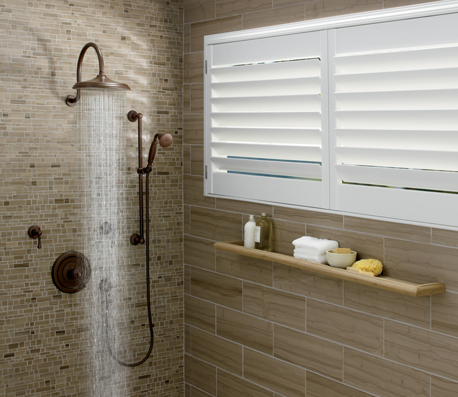 modern bathroom with palm beach plantation shutters hunter douglas 34120