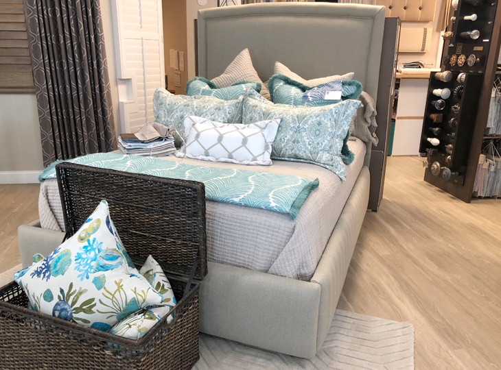 bedding and decor at hunter douglas showroom Fort Myers