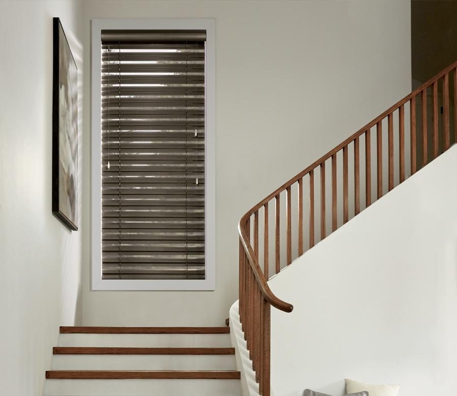stairway with hunter douglas modern precious metal blinds Naples