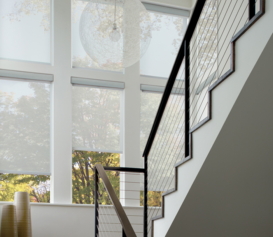 contemporary stairwell with hunter douglas white designer roller shades 34109