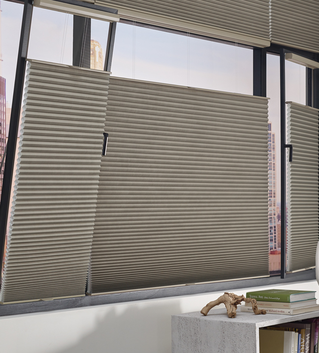 European style windows with hunter douglas duette honeycomb shades and track glide system Fort Myers, FL