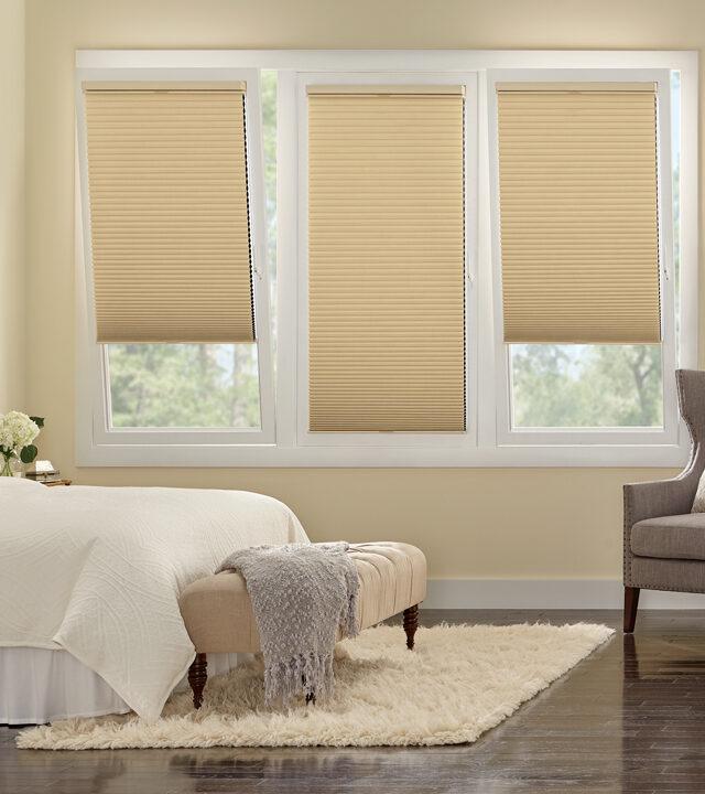 master bedroom with hunter douglas track glide system on tilt turn windows Fort Myers, FL
