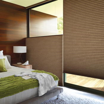 modern bedroom with hunter douglas top down bottom up shades Naples 34103