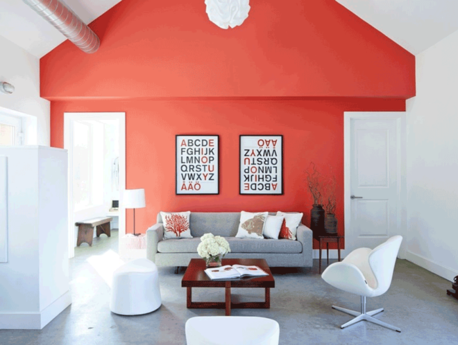 living coral home design accent wall