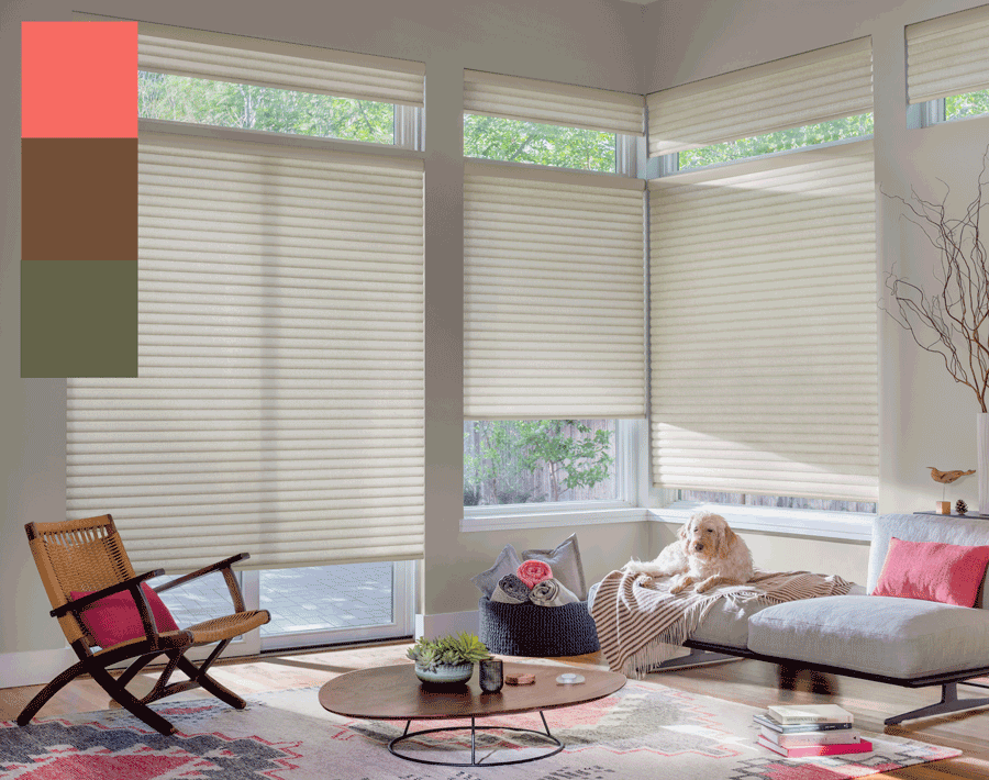 Sonnette Shades in living room accented with trending colors of 2019 Hunter Douglas Naples FL