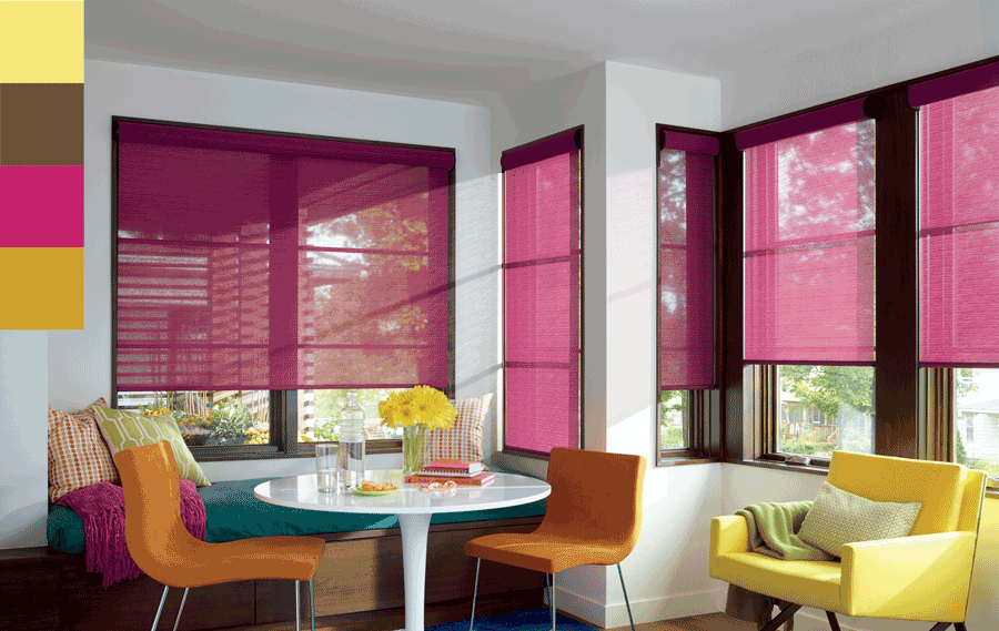 Bold custom roller shades in dining space featuring trending colors of 2019 Fort Myers FL