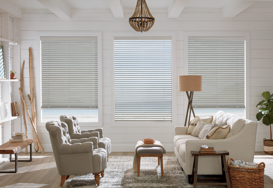 faux wood blinds and natural elements in coastal decor living room Naples 34119