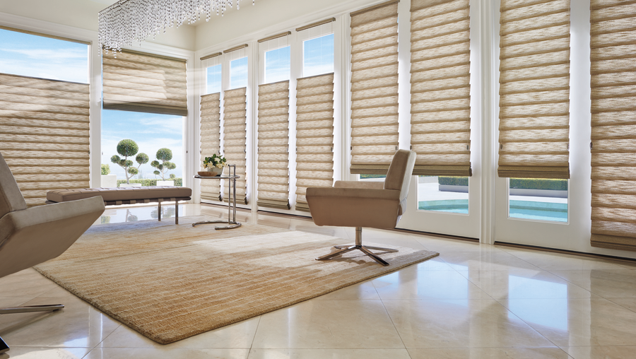 living room with stacking style roman shades Fort Myers 33908