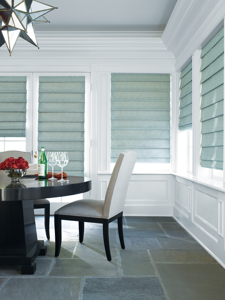 holiday-ready dining room with custom roman shades Fort Myers 33908