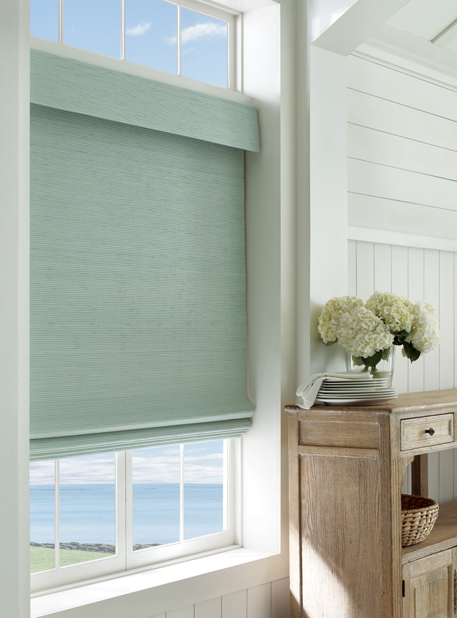 coastal decor color palette with Hunter Douglas provenance woven wood shades Fort Myers 33908