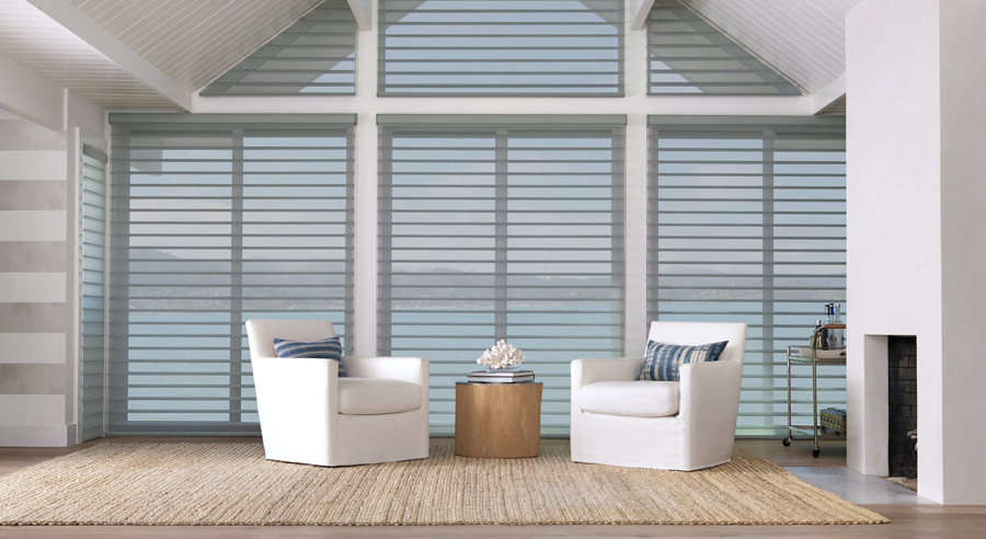 silhouette shades in living room design with coastal decor Hunter Douglas Naples 34119